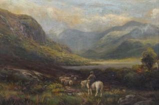 """William Lakin Turner (British 1867-1936) """"Summertime - Derwentwater and Walla Crag"""", oil."""
