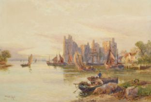 Walter Stuart Lloyd (British 1845-1929) Estuary scene with castle and various shipping, watercolour.