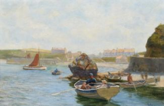 """Edwin Binney (19th/20th century) """"Cemaes Bay, Anglesey"""", oil."""