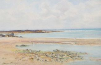 """George Cockram (British 1861-1950) """"On the Foreshore, Rhosneigr, Anglesey"""", watercolour."""