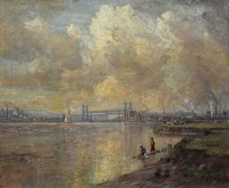 Herbert F. Royle (British 1870-1958) Boys playing on the banks of the River Mersey with the Widnes-R