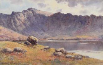 """Warren Williams A.R.C.A. (British 1863-1941) """"The Devil's Kitchen, Snowdonia"""", watercolour."""
