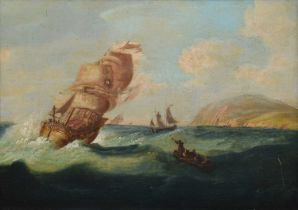 Circle of William Anderson (British 1757-1837) Numerous vessels in a squally sea, oil.