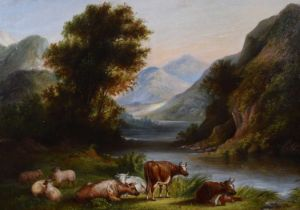 English School (19th century) Mountainous lake scene with cattle and sheep, oil.