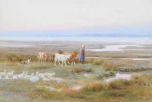George Crozier (19th century) Estuary scene with figure and calves, watercolour.