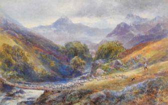 James Gresley (1829-1908) A shepherd with dog herding flock of sheep, watercolour.