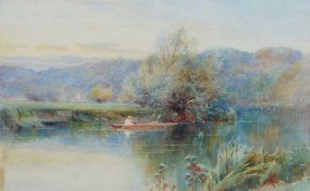 "Alfred Fontville De Breanski Jnr. (1877-1957) ""A Bend on the River Wey, Surrey"", watercolour."