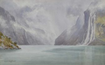 """Frederick R. Fitzgerald (British exh. 1897-1938) """"The Seven Sisters Waterfall, Norway"""", watercolour."""