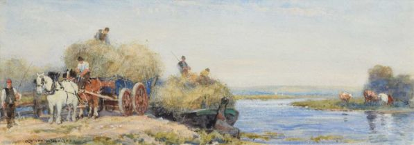Robert Thorne Waite R.W.S. (British 1842-1935) Figures loading hay onto a barge, watercolour.