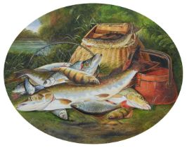 """After Henry Leonidas Rolfe (fl. 1847-1881) """"A Day's Catch"""", oil on board."""
