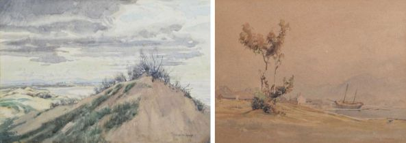Charles W. Sharpe, Coastal scene with sand dunes and a harbour scene with figures, watercolours (2).