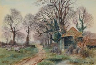 Henry Charles Fox R.B.A. (British 1860-1925) Rural lane with sheep, watercolour.
