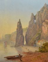 "Frederick Tully Lott (fl.1852-1879) ""Rocher Bayard, Dinant, Belgium"", oil."