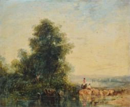 Thomas Creswick (1811-1869) River scene with figures and sheep, oil.