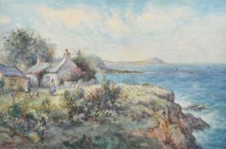 Joseph Hughes Clayton (exh. 1891-1929) Coastal scene with figures and cottage, watercolour.