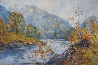 J. A. Henderson Tarbet (Scottish c.1865-1937) Autumnal river scene, watercolour.