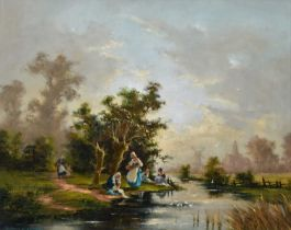 Barbara Gudrun Sibbons (German 1925-) River scene with washerwomen, oil.