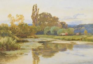 Thomas Pyne (1843-1935) Cattle by a lake, watercolour.