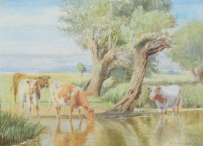 "William Sidney Cooper (British 1854-1927) ""Near Amberley, Sussex"", watercolour."