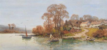 Ernest Witton Hazelhurst R.B.A., R.I. (British 1866-1949) River scene with ferryman, watercolour.