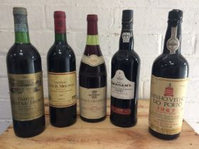 5 Bottles Mixed Lot Grand Cru Classe Claret, Fine Burgundy and Port