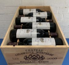 12 Bottles (in OWC) Chateau Colombier-Monpelou Cru Bourgeois Pauillac 2000