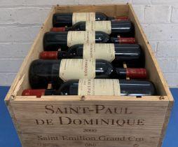 12 Bottles (in OWC) St Paul de Dominique St Emilion Grand Cru 2000