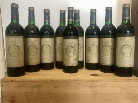 9 bottles Chateau Gruaud Larose Grand Cru Classe St Julien 1985 (3 b/n, 5 vts, 1 t/s)