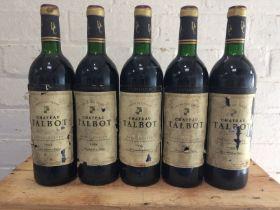 5 bottles Chateau Talbot Grand Cru Classe St Julien 1988 (5 vts)