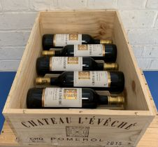 6 Bottles (in OWC) Chateau L'Eveche Pomerol 2015 (all i/n)