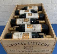 12 Bottles (in OWC) Chateau L'Eveche Pomerol 2009 (all b/n)
