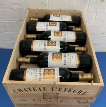 12 Bottles (in OWC) Chateau L'Eveche Pomerol 2010 (all i/n)