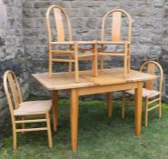A 20th century drawer leaf dining table, together with a set of four dining chairs