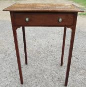 An antique side table, with elm top and mahogany banding, fitted with a frieze drawer, 20ins x 13.