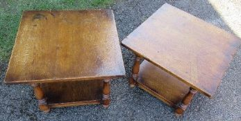 A pair of oak coffee tables with under shelf, 23ins x 23ins x height 18ins