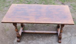 An oak coffee table, 36ins x 18ins, height 18.5ins