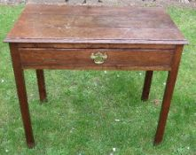 An antique oak side table, fitted with a frieze drawer, 33ins x 18.5ins x height 28.5ins