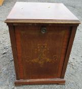 An Edwardian mahogany purdonium, decorated with flowers, 134ins x 13ins x height 18ins
