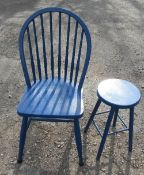A blue painted kitchen chair, together with a blue stool