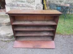 A mahogany set of shelves, width 50ins x depth 16ins x height 36ins