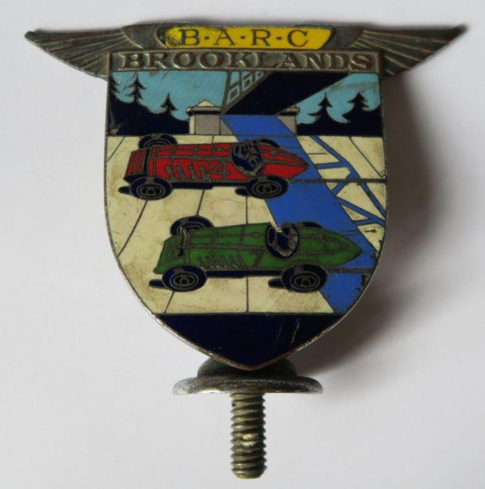 A Brooklands B.A.R.C enamel car badge, marked Spencer London 359