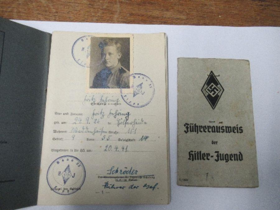 World War II, Hitler Youth ephemera relating to Fritz Jehring, to incude Youth Messenger armband, - Image 2 of 8