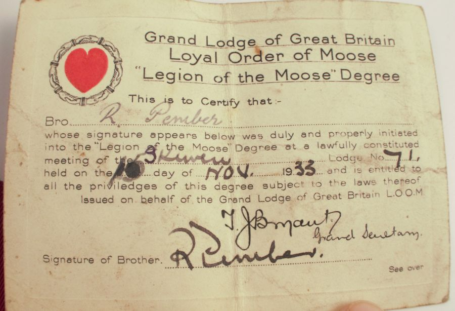 A Moose Lodge medal, on ribbon, together with membership details - Image 3 of 5