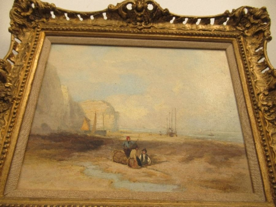 A pair of 19th school oil on canvas, signed C.Simms, beach scenes, with gallery label to the - Image 2 of 10