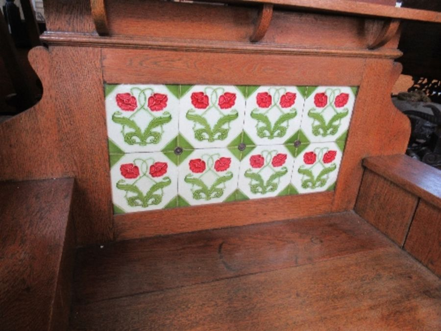 An Arts and Crafts style tile backed wash stand, with cupboard door below, width 41.5ins x height - Image 2 of 5