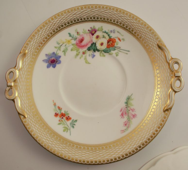 A 19th century Swansea plate, decorated with floral sprays, diameter 8ins, together with a 19th - Image 2 of 6
