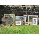 A large quantity of prints, together with a mirror, to include framed spaniel photos, Sea King