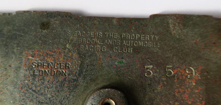 A Brooklands B.A.R.C enamel car badge, marked Spencer London 359 - Image 2 of 2