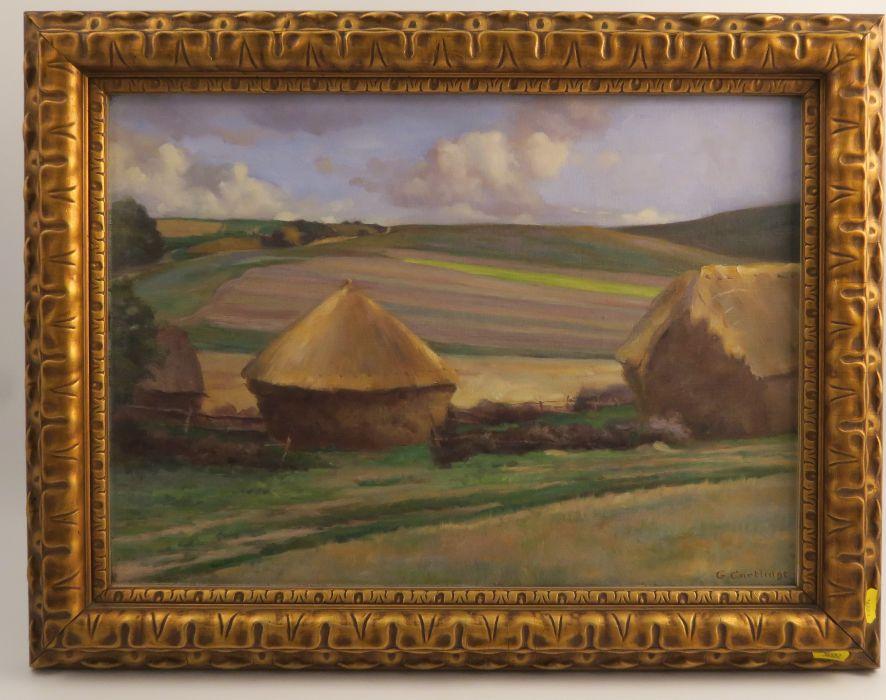 G Cartlidge, oil on canvas, rural landscape, 14ins x 20ins