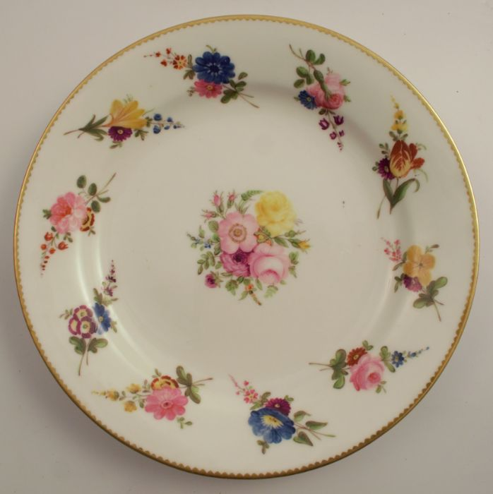 A pair of 19th century Swansea plates, decorated with floral sprays, diameter 8.5ins, stamped - Image 2 of 3